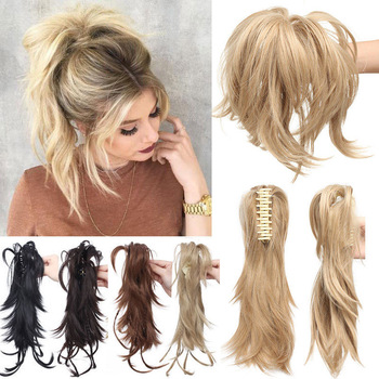 S-noilite High Temperature Fiber Hairpieces Long Wavy Synthetic Claw Clip Ponytail Hair Extensions for Women Black Brown 1