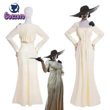 Alcina dimitrescu branco vestido cosplay traje aldeia chatelain alcina biohazard vestido niform halloween party outfit para mulher