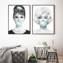 Marilyn Monroe Posters and Prints Chewing Green Bubble Gum Canvas Print Wall Art Picture Audrey Hepburn Painting for Living Room(China)