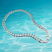 Moda 925 srebro naszyjniki dla mężczyzn. Oryginalne solidne czyste srebro mężczyzn biżuteria, szeroka wersja 12.5mm mężczyzn naszyjnik łańcuch