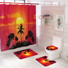 Red Beach Shower Curtain In Bathroom Waterproof Bath Curtains 3D Coconut Palm Seascape douchegordijn landschap Nordic red beach shower curtain in bathroom waterproof bath curtains 3d coconut palm seascape douchegordijn landschap nordic