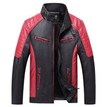 Men's autumn and winter fashion motorcycle color matching leather break collar jacket Windbreaker Hooded PU Jackets Fur coat