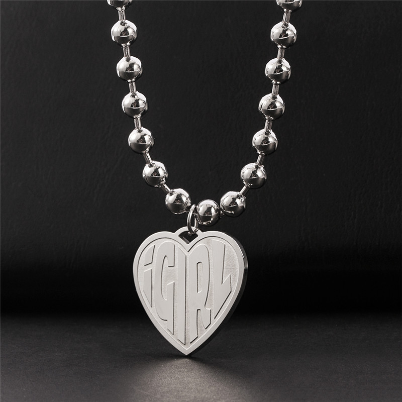 High Polished IGIRL Heart Necklace I GIRL Stainless Steel Heavy Duty Gothic Streetwear Bead Chain Choker Necklace Bijoux Femme