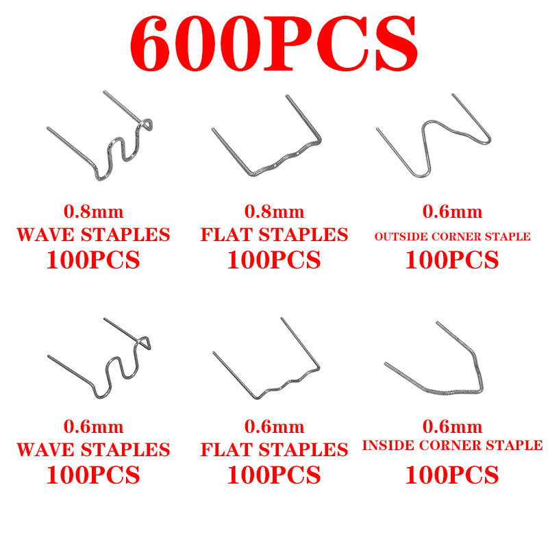 600pcs Stainless Steel Standard Pre Cut 0.8mm/0.6mm Hot Staples For Plastic Stapler Car Bumper Repair Hine Welder Wires