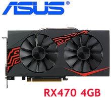 ASUS Video Karte RX 470 4GB 256Bit GDDR5 Grafiken Karten für AMD RX 400 serie Computer Karten Karten RX470 4GB DVI 570 580 480 Verwendet