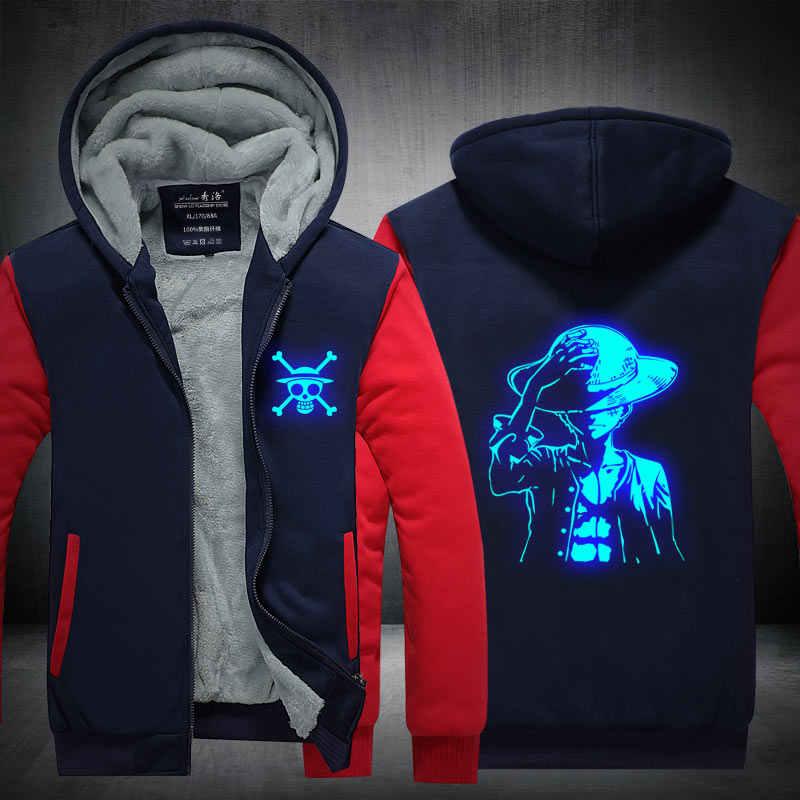 팬들은 원피스 Winter Hoodie Monkey d를 만들었습니다. Luffy Choba Law At Night Zip Up Hoodies 3D 프린트 후드 티 코스프레 스웨터