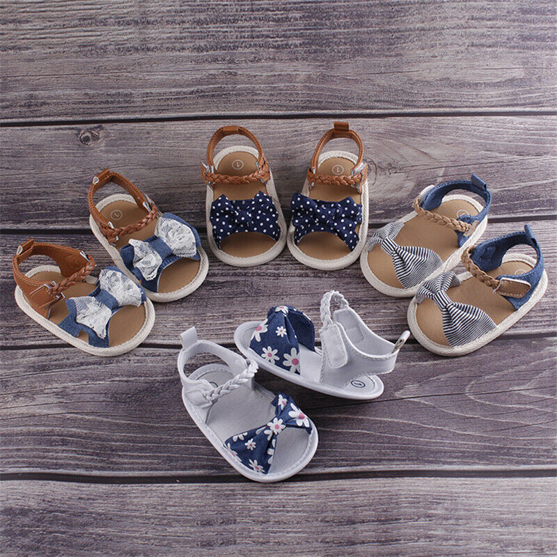 Summer Baby Shoes Toddler Newborn Baby Girls Bowknot Soft Crib Shoes PU Sneakers 0-18 Months