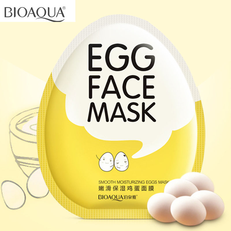 BIOAQUA Egg Facial Mask Oil Control Brighten Sheet Mask Tender Moisturizing Face Patch For Pimples Korea Skin Care Face Masks