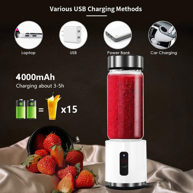 380ml 4000mAh USB Rechargeable Portable Glass Cup Personal Mini Blender Juicer Vegetable Fruit Citrus Orange Juice Maker Mixer 1