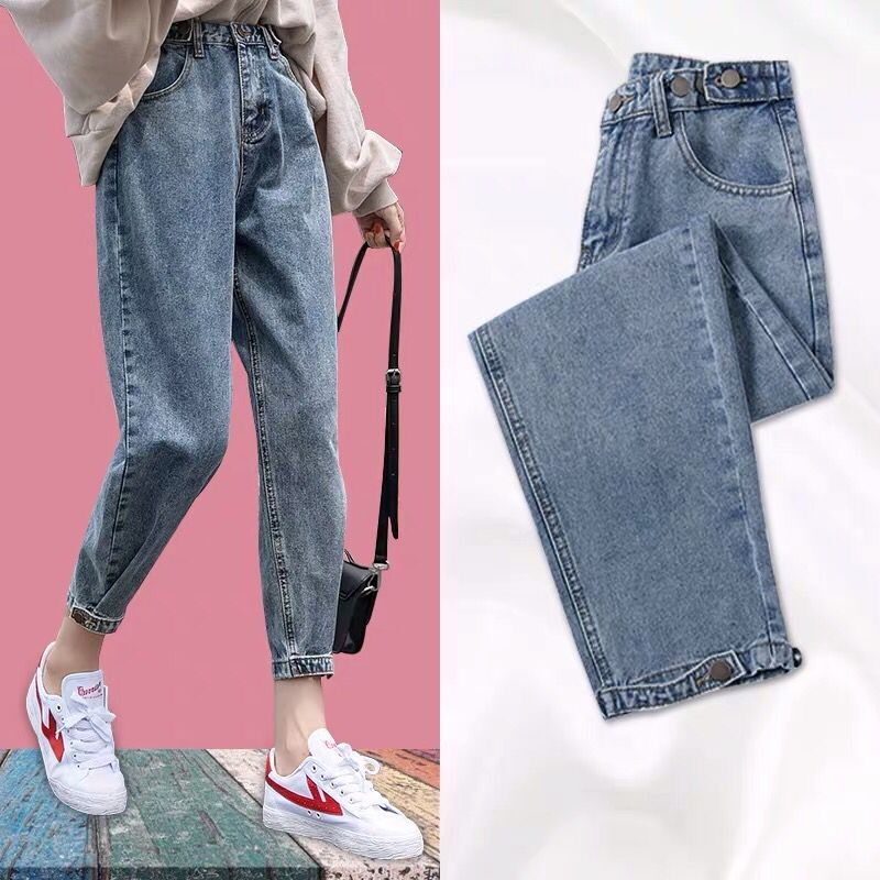 High Waist Harem jeans woman Casual Plus Size loose Mom jeans female Vintage plus size washed Denim pants jeans femme