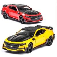 1:24 Chevrolet Camaro Metal Body Doors Can Be Opened Musical Lighting Machine Diecast Toy Vehicles Hot Wheel Car Model