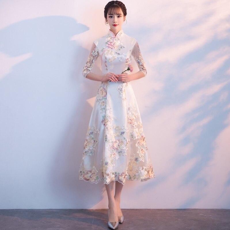 Womens Embroidery Long Cheongsam Vintage Chinese style Mandarin Collar Dress Spring Mesh Qipao Slim Party Dresses Vestido XS 3XL