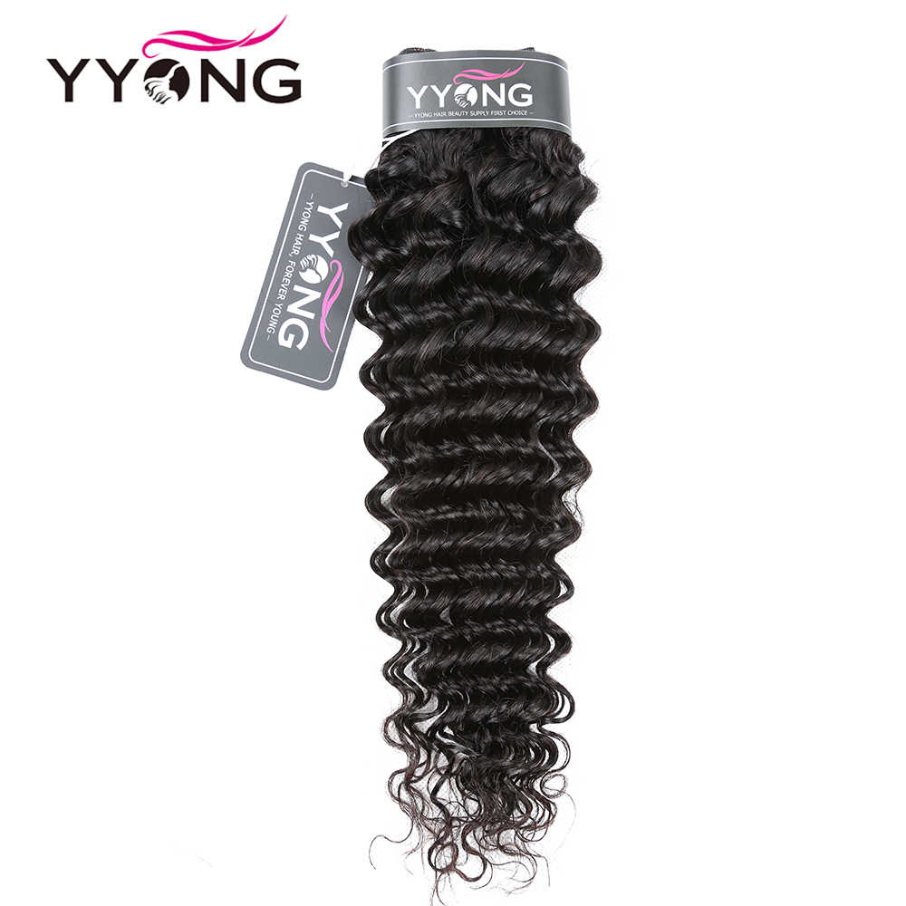 YYong 13x6 Deep Wave Lace Frontal Closure With Bundles Malaysian 3 / 4 Bundles With Ear To Ear Lace Frontal Remy Human Hair