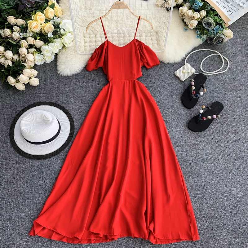 Maldives Vacation Strap Beach Dress Women 2020 New Sexy Off-Shoulder Ruffled Summer Off-Shoulder Solid Color Dress Beach Dress image