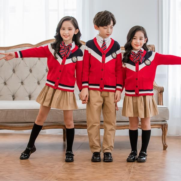 Automne angleterre Style étudiant uniformes 4 pièces ensembles tricoté Cardigan + chemises + cravate + filles jupes/garçons pantalons costumes enfants tenue 3-18T
