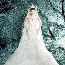 Cheap vestido de festa longo 2018 new fashionable romantic sexy mermaid pearls wedding bridal gown