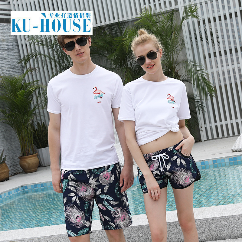 Beach Shorts WOMEN'S Shorts Quick-Drying Loose-Fit Couples Sports Shorts No Ironing Casual Household Seaside Men's Flower Large
