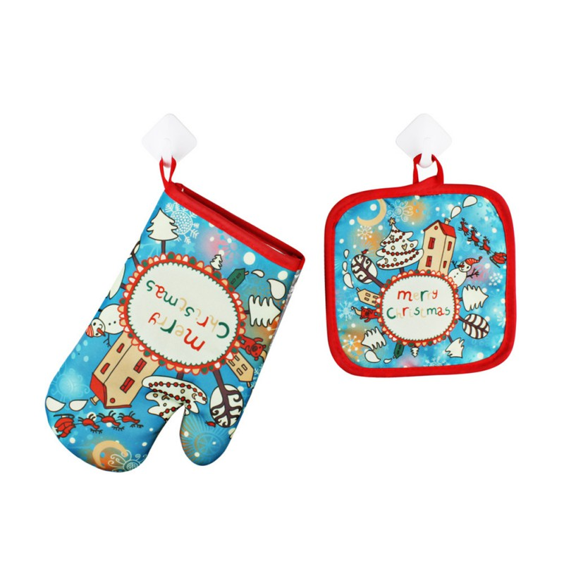2Pcs/Set Christmas Gloves Oven Mitts BBQ Microwave Baking Protective Glove And Hot Pot Insulated Mat Pad Xmas Kitchen