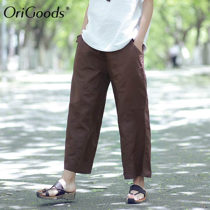 OriGoods Women Capri   Pants   Ramie Summer Wide leg   Pants     Capris   Solid Orange Black Women Trousers Kawaii Cute Cool   Pants   C117