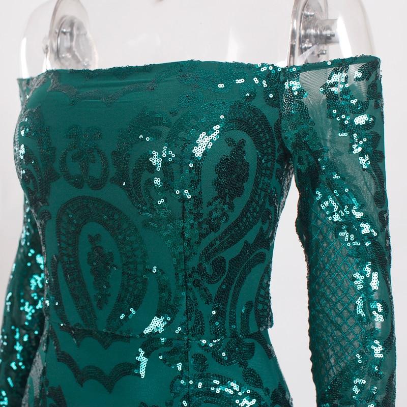 ReinaLiza Sequined Padded Off Shoulder Slash Neck Lining Stretchy Bodycon Dress