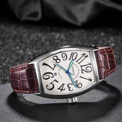 KIMSDUN skrzyni ładunkowej zegarek kwarcowy mężczyźni luksusowa marka wodoodporne kwadratowe biznes skórzany zegarek na rękę dla mężczyzn zegar mężczyzna Erkek Kol Saati w Zegarki kwarcowe od Zegarki na