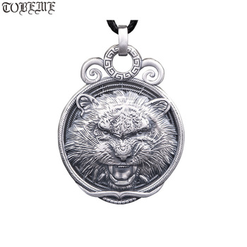 100% 999 Silver Wolf Pendant Necklace Real Silver Power Wolf Pendant Man Pendant Necklace PUNK Jewelry Wolf Head Necklace