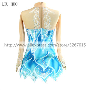 Image 2 - Figure Skating Dress Womens Girls Ice Skating Dress Blue / White Stretchy Competition Skating Wear Classic Long Sleeve Ice