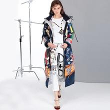 Осенне-зимнее Новое Стильное женское пальто, европейский и американский стиль, Длинный свободный пуховик с мультяшным принтом, Yr17809