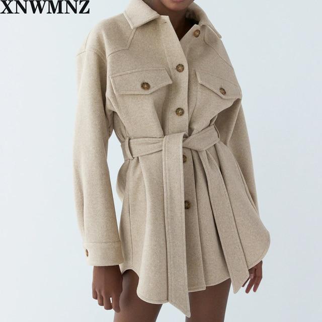 XNWMNZ Za Women 2020 Fashion With Belt Loose Woolen Jacket Coat Vintage Long Sleeve Side Pockets Female Outerwear Chic Overcoat 2