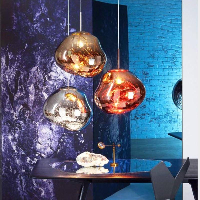 Nordic Glass Design LED Pendant Lighting Bar Restaurant Pendant Lamp Couture Living Room Fixtures Lava Color Glass Hanging Lamp