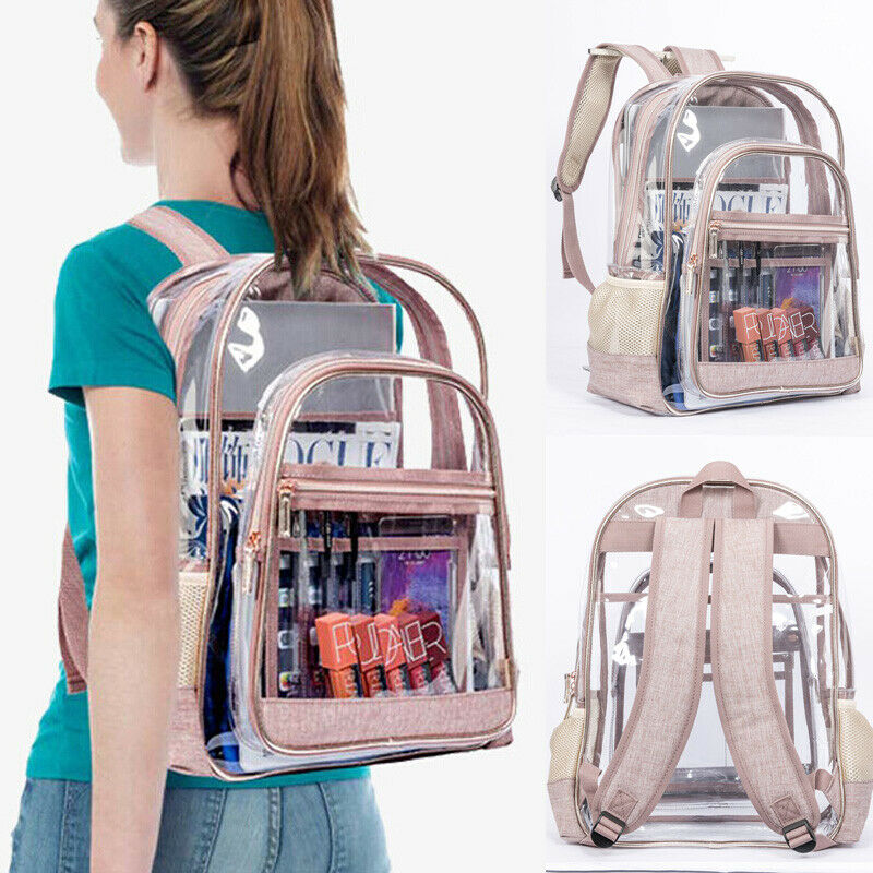 Women Fashion Clear Transparent PVC See Through Large Backpack School Book Bag Waterproof Shoulder Bags