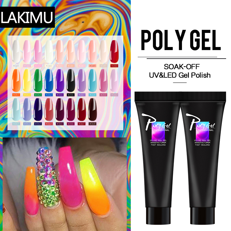 LIKIMU Crystal Nude Color PolyGel Acrylic Gel Polish Set Clear French Quick Extension Nail Art Camouflage Polygel Gel Jelly Nail