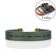 I LOVE YOU Bracelet Simple Engraved Letters Leather Couple Bangle Valentines Gifts