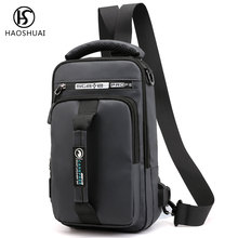 Haoshuai Men Chest Backpack Waterproof Sling Bag Satchel Shoulder USB Daypack Travel