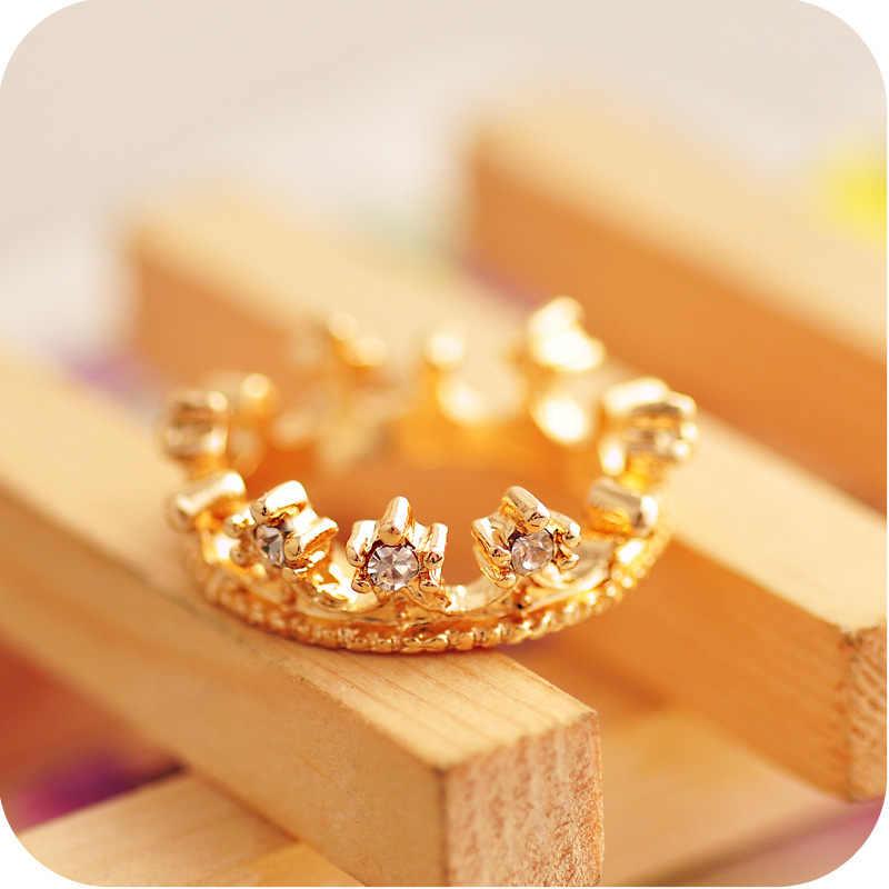 ใหม่แฟชั่นแฟลชเจาะมงกุฎเครื่องประดับความงามสง่างามเงาแหวนน่ารักน่ารักมงกุฎเงินคริสตัล Rhinestone แหวน
