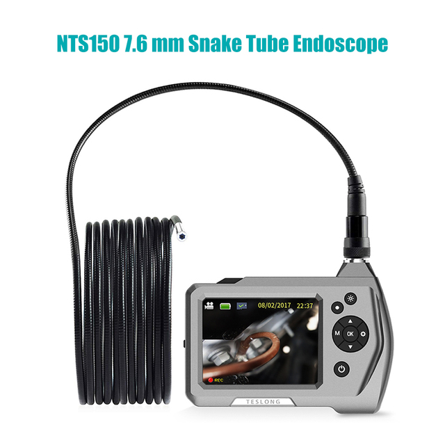 "NTS150 720P HD Endoscope Inspection Camera 3.5"" LCD Monitor7.6mm Diameter 1M Tube 32GB DVR Borescope Zoom Rotate 6 LEDS 1.0MP"