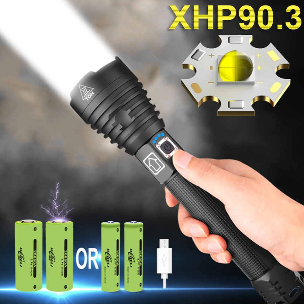 Most powerful XHP90 3 led flashlight 18650 USB Rechargeable Hand Lamp tactical flash light XHP90 zoom torch fishing lantern lamp