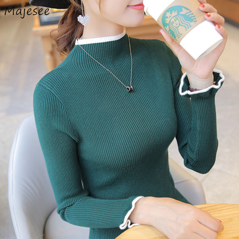 Pullovers Women Knitting Winter Sweaters Solid Turtleneck Slim Bodysuit Korean Style Elegant Ladies Chic Harajuku Casual Fashion