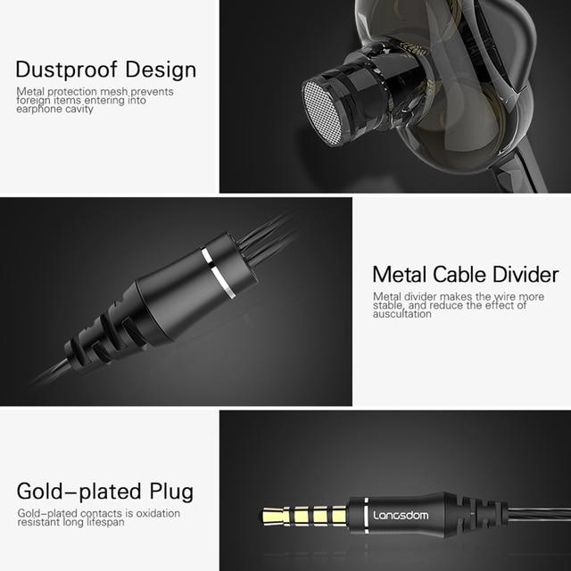 Langsdom D4C Wired Earphone Headphones with Microphone Dual Driver Phone Earphones Type C Ear phones auriculares fone de ouvido 4