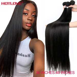Hair-Weave-Bundles Long-Hair Remy Natural-Color Straight 100%Human-Hair Brazilian Mixed