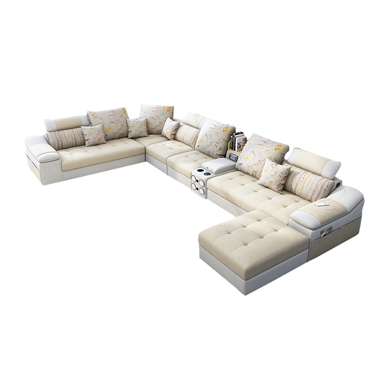 Living room furniture fabric technology leather sofa with coffee table speaker диван 6