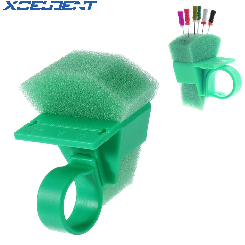 1pc Plastic Dental Endo Clean Measuring Finger Ring Stand Holder Ruler Cleaning Foam Sponges File Holder