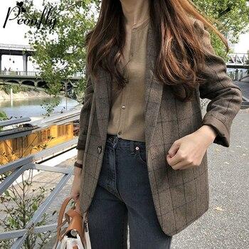 PEONFLY Spring Korean Vintage Plaid Blazers Women Fashion Loose Notched Single Button Blazer Female Casual Coat Blazer Feminino 1