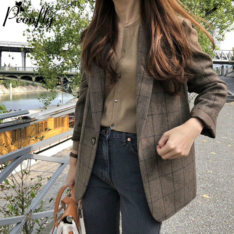 PEONFLY Spring Korean Vintage Plaid Blazers Women Fashion Loose Notched Single Button Blazer Female Casual Coat Blazer Feminino