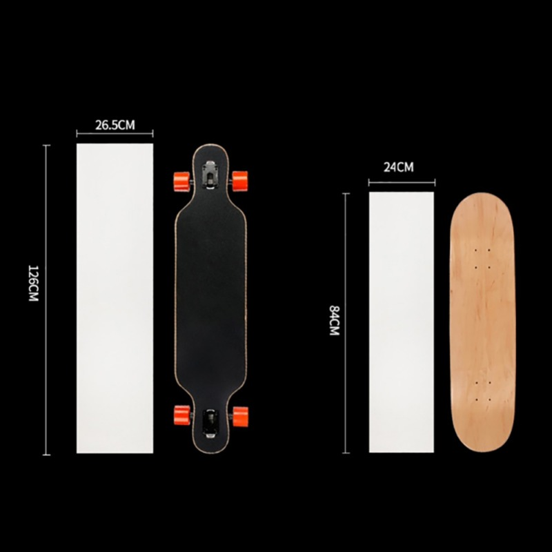 126*26cm Longboard Sandpaper Clear Longboard Skate Scooter Sandpaper Sticker Skateboard Thickened Grip Tape 84cm*24cm