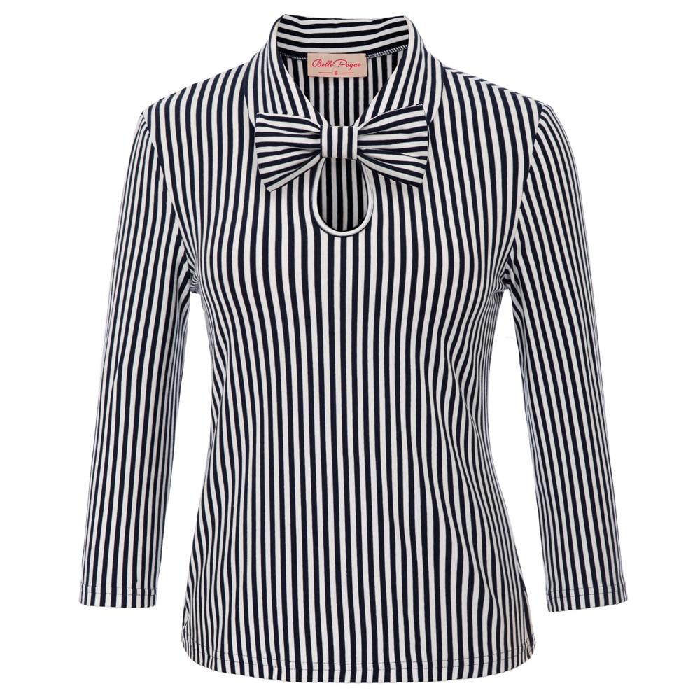 Women Pinup Long Sleeve Tops   Blouse   Steampunk Vintage OL Ladies   Shirt   +Bowknot