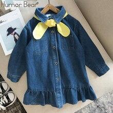 Humor Bär 2019 NEUE Mädchen Denim Kleid Herbst Kinder Kleidung Für Mädchen Kleinkind Baby Kleid Prinzessin Bogen Chiristmas Partei Kleider