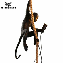 Modern Monkey Lamp LED Pendant Lights Creative Living Room Decoration Hemp Rope Pendant Lamp Cafe Kitchen Hanging Lamp Luminaire modern pendant lights spherical design white aluminum pendant lamp restaurant bar coffee living room led hanging lamp fixture