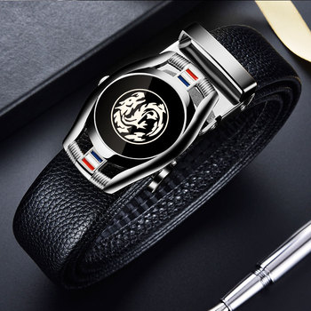 Belts for 3.5cm Width Sports Car Brand Fashion Automatic Buckle Black Genuine Leather Men's Jeans High Quality Waist Male Strap 11