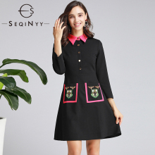 SEQINYY Mini Dress 2020 Autumn Spring New Fashion Design Flower Pockets Slim Buttons Black